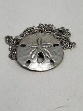 Silver Tone Sand Dollar Pendant Vintage Necklace