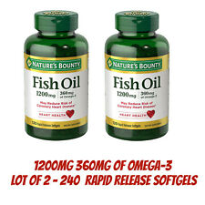 Nature's Bounty Fish Oil 1200mg 360 mg of Omega-3 240 Softgels Total Lot Of 2