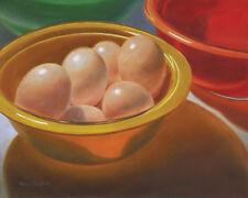 DANFORTH Eggs In Yellow Bowl 8x10 original still life realism oil painting