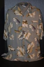 Men's (XL) 100% Silk S/S Button Front Palm Leaf Print Island Shirt by WtF