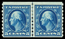 Scott 396 1913 5c Washington Perforated 8½ Mint Coil Line Pair F-Vf Hr Cat $425