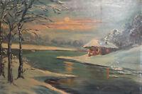 Antique European oil painting river landscape winter scene