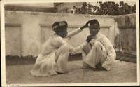 India Native Life Street Barber c1910 Ethnography Postcard