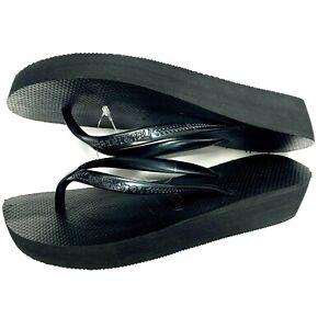 Havaianas Women's High Fashion Flip Flop Sandal, Black, 37 BRA  (6 to 6.5 M US)