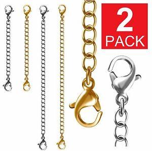 """2-Pack Extender /Safety Chain Extender Necklace Bracelet Lobster lock 3"""" or 6"""""""