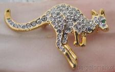 Pave Crystal Australian Kangaroo Brooch