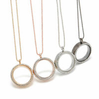 Charm Round Locket Pendant Crystal Glass Memory Floating Long Chain Necklace
