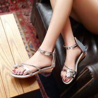 Women Zip Low Wedge Heels Rhinestone Sandals Summer Peep Toe Shoes Fashion Sz