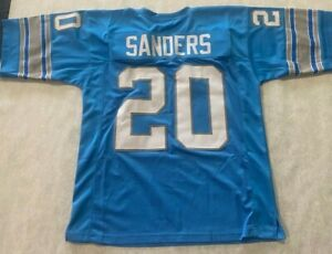 UNSIGNED CUSTOM Sewn Stitched  HALL OF FAME Barry Sanders Blue Jersey - XL