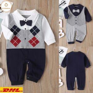 Baby Jungen Kinder Langarm Romper Jumpsuit Hoseanzug Gentleman Kleidung Outfits