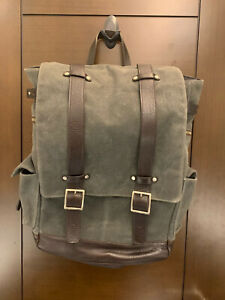 NEW Ernest Alexander Waxed Canvas Backpack Bag Olive Gray w/ Leather Straps