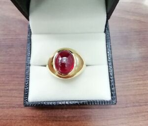 Natural Cabochon Ruby Real Diamond 18k Solid Yellow Gold Men's Ring Jewelry