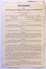 HYPNOTISM 1953 Constitution & By-Laws Society Clinical & Experimental Hypnosis