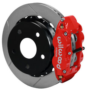 "WILWOOD DISC BRAKE KIT,REAR,66-75 FORD BRONCO W/10"" DRUMS,14"" ROTORS,RED CALIPER"
