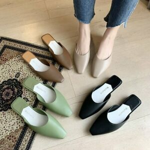Women Summer Pointed Toe Mules Sandals Pu Shoes Ladies Slippers Flats Slip-On