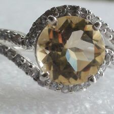 NATURAL CITRINE 925 SILVER RING 21.25 ct,VINTAGE ESTATE Jewelry. SIZE 7.75