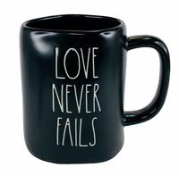 Rae Dunn Mug LOVE NEVER FAILS Black Matte Ceramic Coffee Cup Dishwasher Safe