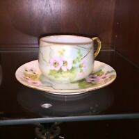 Antique Tea Cup Saucer Floral Gilded Hand Painted Porcelain Victorian MZ Austria