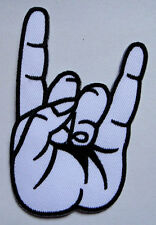 White Hand Sign of The Horns Heavy Metal Embroidered Iron on Patch Free Postage