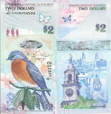 BERMUDA $2 Dollars Banknote World Money Currency BILL Caribbean p57 Note Bird