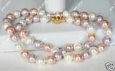 """8mm Genuine White Pink Purple Multicolor South Sea Shell Pearl Necklace 18"""" AAA"""