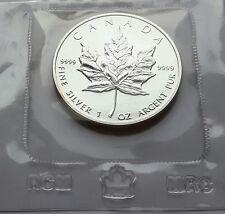 KANADA: 5 DOLLAR 1989 MAPLE LEAF, STGL., ORIGINAL EINGESCHWEISST.