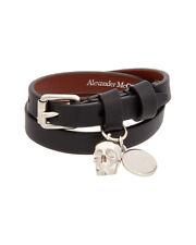 Alexander Mcqueen Skull Double Wrap Leather Bracelet Women's