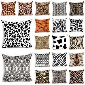 "18*18"" Animal Leopard Zebra Sofa Throw Cushion Cover Pillow Case Geometric Print"