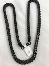 "Wheat 24"" Chain Necklace Stainless Steel Black 1/4"" Square"