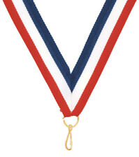 LOT of 10 Ribbons 7/8 x 32 inch Red White Blue Neck Ribbon Lanyard w/Snap Clip