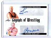 Jacques Rougeau Pierre Ouellet 2018 Leaf Legends Wrestling Dual Autograph Card
