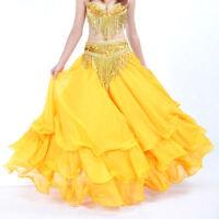 NEW 3 layers Ruffle Long Skirt Swing Belly Dance Costume Skirt Dress 13 COLORS
