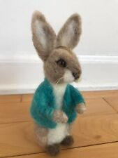 new needle felted Peter Rabbit From Story Book, Easter bunny, brown/white