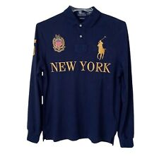 Polo Ralph Lauren Big Pony Navy Blue Long Sleeve Rugby Polo Size Large New York