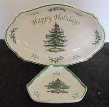 2 PCS SPODE ENGLAND CHRISTMAS TREE HOLIDAY SERVING DISHES BOWL SM DISH