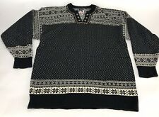 Dale Of Norway Mens Nordic Fair Isle Black Sweater Pewter Buttons Large