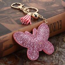 Charm Leather Tassel Car Keychain Butterfly Handbag Key Ring Bag Accessory Gift