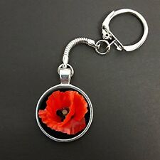 Poppy Flower Pendant On A Snake Keyring Ideal Birthday Gift N887