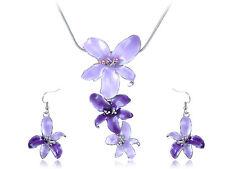 Flower Necklace Earrings Studs Set Violet Purple Hawaiian Enamel Silver Tropical