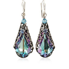 Vitrail Light Teardrop Silvertone Filigree Earrings with Crystal from Swarovski