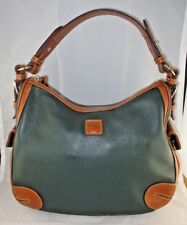 Dooney & Bourke DILLEN Ivy Green Brown Trim All Weather Pebble Leather HOBO Bag