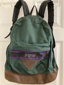 Vtg~JANSPORT~Green+Brown~LEATHER BOTTOM~Backpack~2 Pocket Triangle~Padded Straps