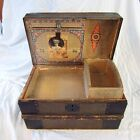 Small Child's or Doll's Antique Steamer Dome Top Trunk w/ Textured Tin Exterior