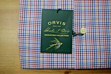 Orvis Signature Collection Blue Red Tattersall Check Long Sleeve Shirt Medium