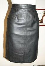 jupe T38 longue vrai cuir noir coupe droite leather wiggle pencil skirt m 591!