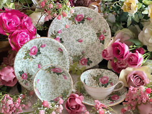 Aynsley antique Teacups, Saucers and Plate A3013 Pink Roses, Chintz, Excellent!