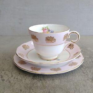 Vintage Melba Bone China Teacup Saucer Plate England Trio Pink Gold Bouquet