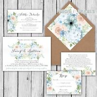 Personalised Luxury Rustic Wedding Invitations BLUE & PINK HYDRANGEA packs of 10
