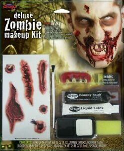 Deluxe Zombie Scary Makeup Kit for Adult Halloween Costume Bloody Horror