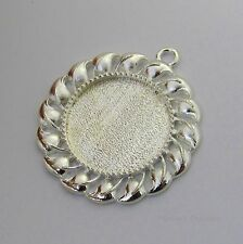 25mm Round Silver Plated Cabochon (Cab) Drop Setting (#RB-C3611)
